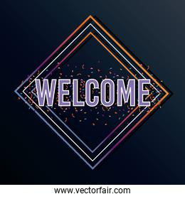 welcome label lettering in diamond figure