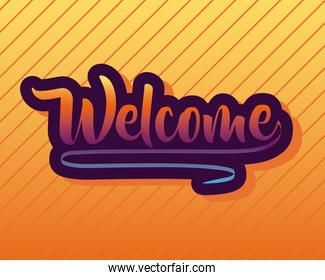 welcome label lettering in orange background