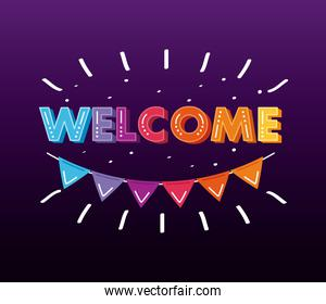 welcome label lettering with garland hanging in purple background