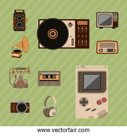 bundle of ten retro set gadgets