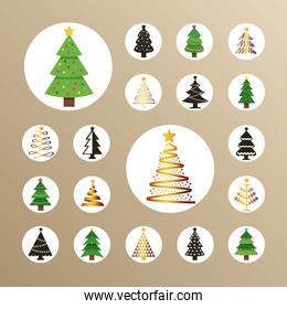 happy merry christmas bundle of trees in beige background