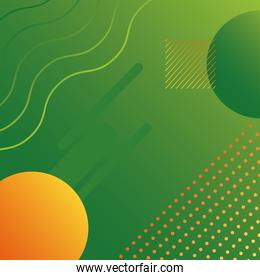 green color geometric vivid background with circles and waves
