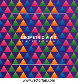 triangles colors geometric vivid background with square frame