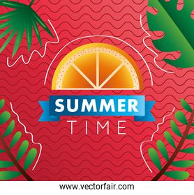 summer time season lettering with orange and ribbon