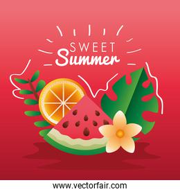 sweet summer season lettering with fruits and leafs
