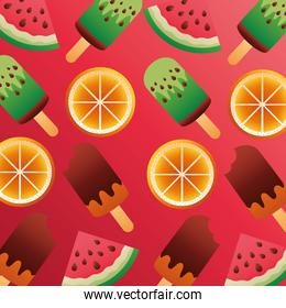 summer season with ice creams and fruits pattern