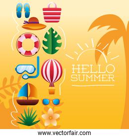 hello summer season lettering with set icons