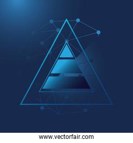 futuristic background with triangles, molecules technology and polygonal shapes