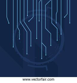futuristic background blue with lines circuit electronics