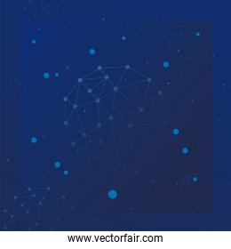 futuristic background with polygonal shapes and molecules technology