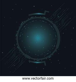 futuristic background dark with lines circuit electronics and round frame