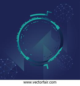 futuristic background with molecules technology, polygonal shapes and round frame vector illustration