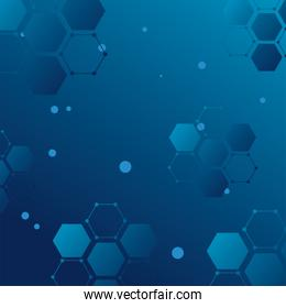 futuristic background blue with molecules technology and polygonal shapes