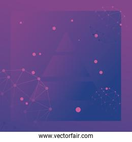 futuristic background purple with molecules technology and polygonal shapes