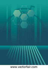 futuristic background with molecules technology, circuit electronic lines and polygonal shapes