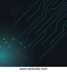 futuristic background green molecules technology with polygonal shapes and lines