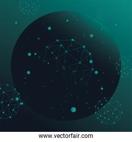 futuristic background green with molecules technology and polygonal shapes