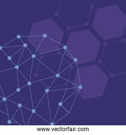 background futuristic with molecules technology and polygonal shapes