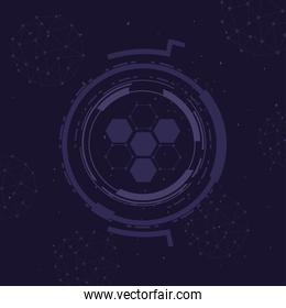 futuristic background with molecules technology, polygonal shapes and round frame