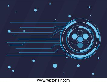 futuristic background dark blue with molecules technology, polygonal shapes and lines