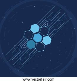 futuristic background blue color with molecules technology, polygonal shapes and lines