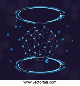 futuristic background with molecules technology in circular shape