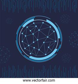 futuristic background blue with molecules technology in circular shape