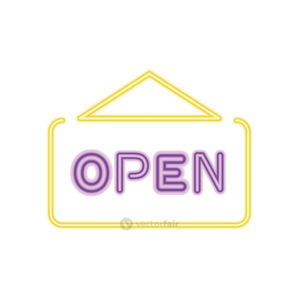 open neon door sign icon, colorful design