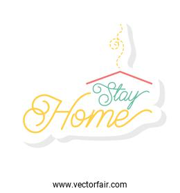 stay home lettering campaign with house roof