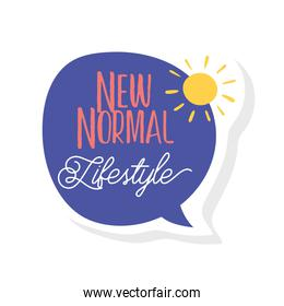 new normal lifestyle lettering campaign with sun and speech bubble