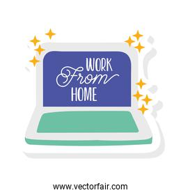 work from home lettering campaign with laptop