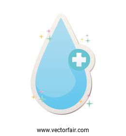 healing drop with a cross covid19 pandemic stickers
