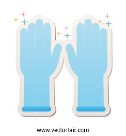 blue protective gloves stickers with sparks