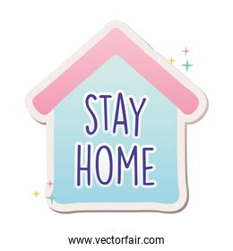stay home lettering in house covid19 pandemic stickers