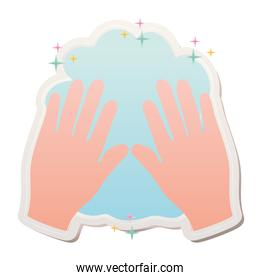 wash your hands covid19 pandemic stickers with hands and foam