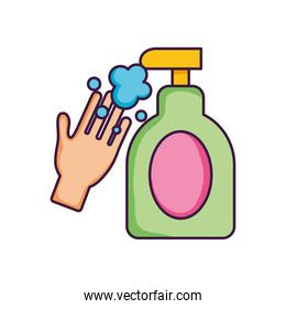 hand with sanitizer gel bottle icon, flat style