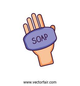 hand with soap bar icon, flat style