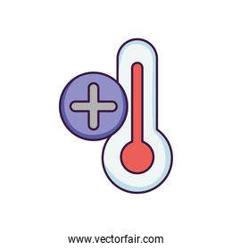 thermometer with plus symbol icon, flat style