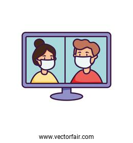 computer and people with mouth masks on screen, flat style