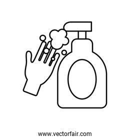 hand with sanitizer gel bottle icon, line style