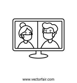 computer and people with mouth masks on screen, line style