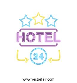 hotel neon sign with stars icon, colorful design