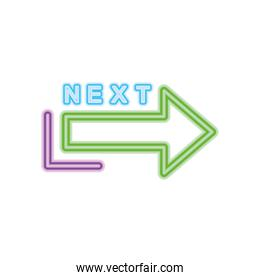 next neon sign with arrow icon, colorful design