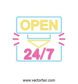 24 7 open neon sign icon, colorful design