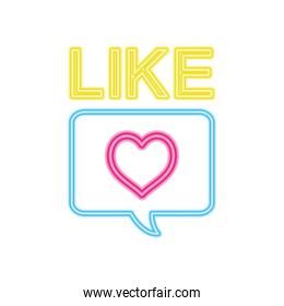like neon sign with heart icon, colorful design
