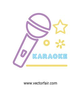 karaoke neon sign with microphone and stars icon, colorful design