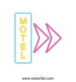 motel neon sign with arrows icon, colorful design