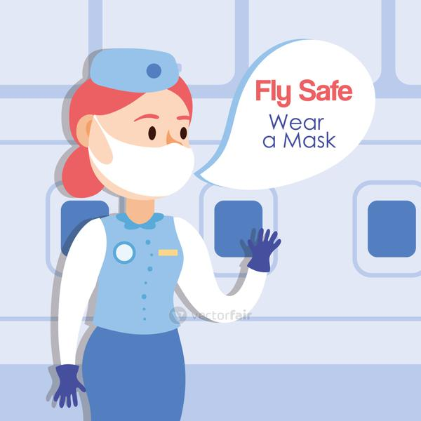 fly safe campaign lettering poster with stewardess talking