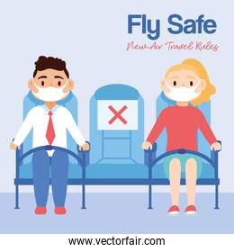 fly safe campaign lettering poster with persons in airplane chairs
