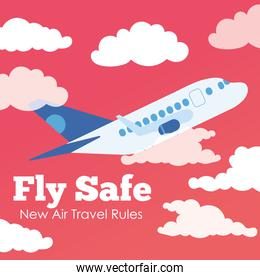 fly safe campaign lettering poster with airplane flying